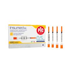 Стерильный инсулиновый шприц INSUMED U-100 0,5мл с иголкой 31G*8мм 30 штук толщина иглы 0,25мм (8058090005353)
