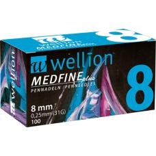Универсальные иглы Wellion Medfine plus для инсулиновых шприц-ручек 8мм (31G x 0,25 мм) 9120015781778
