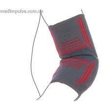 Бандаж на локтевой сустав вязанный эластичный усиленный (арт. R9104) серо-красный