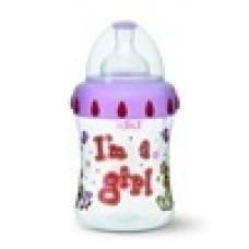 Бутылочка для девочек I am a girl,150 мл., широкое горлышко - bibi