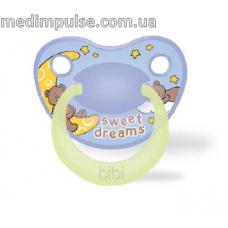 Пустышка ночная, силиконовая 6-16 мес (M), ночная, Sweet Dreams blue 111483, bibi new 2014
