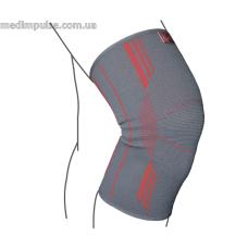 Бандаж на коленный сустав вязанный эластичный ReMed R6101 серо-красный