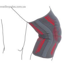 Бандаж на коленный сустав вязанный эластичный усиленный ReMed R6104 серо-красный