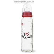 Бутылочка стеклянная I love mama, 240 мл., стандартное горлышко - bibi