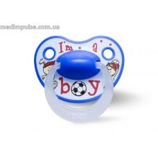 Пустышка силиконовая для ребенка, 6-16 мес (M), I am a boy, bibi new 2014