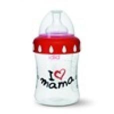 Бутылочка I love mama, 250 мл., широкое горлышко. bibi (Швейцария)