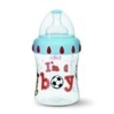 Бутылочка для мальчиков I am a boy, 250 мл., широкое горлышко - bibi