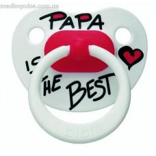 Пустышка латексная, 0-12 мес, Papa is the best, bibi