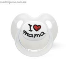 Пустышка силиконовая 6-16 месяцев, I love mama, 112368