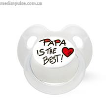 Пустышка силиконовая 6-16 месяцев, Papa is the best, 112368