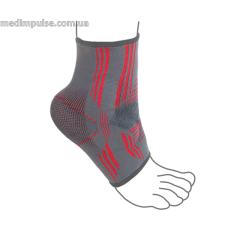 Бандаж на голеностопный сустав вязанный эластичный усиленный ReMed R7105 серо-красный