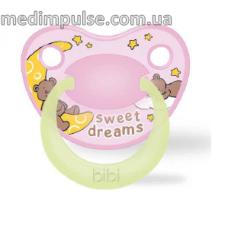 Пустышка ночная силиконовая, 6-16 мес (M), ночная, Sweet Dreams pink 111484, bibi new 2014