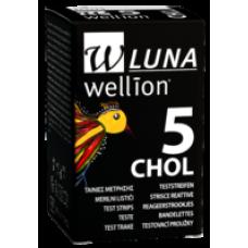 Тест-полоски Wellion Luna Duo холестерин 5 шт. в 1 флаконе для определения глюкозы в крови глюкометром веллион луна дуо холестерин