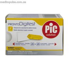 Набор стерильный Pronto Digitest 25 ланцетов 30G + 25 салфеток абсорбирующих