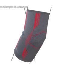 Бандаж на локтевой сустав вязанный эластичный (арт. R9102) серо-красный